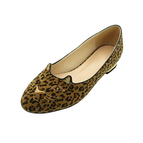 Women's Cute Leopard Print Flats Suede Round Toe Comfortable Shoes image 1