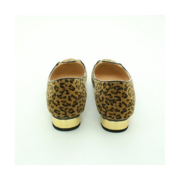 Women's Cute Leopard Print Flats Suede Round Toe Comfortable Shoes image 6