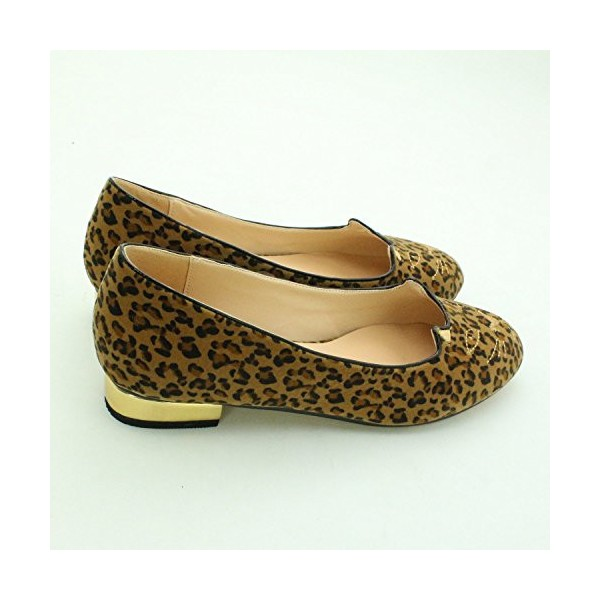 Women's Cute Leopard Print Flats Suede Round Toe Comfortable Shoes image 5