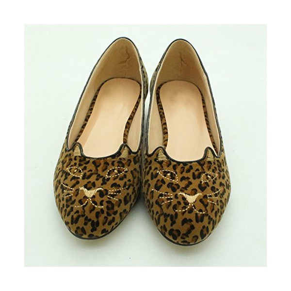 Women's Cute Leopard Print Flats Suede Round Toe Comfortable Shoes image 3