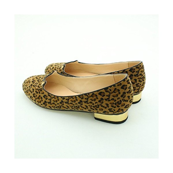 Women's Cute Leopard Print Flats Suede Round Toe Comfortable Shoes image 2