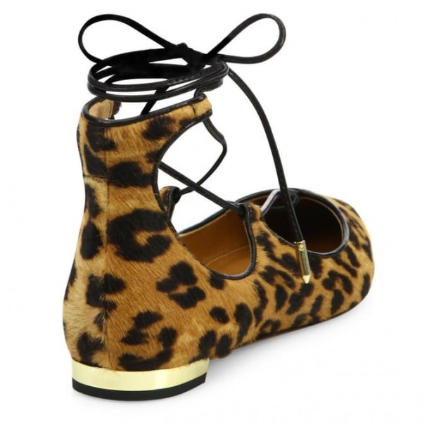 Women's Suede Strappy Shoes Ankle Strap Heels Leopard Print Flats image 3