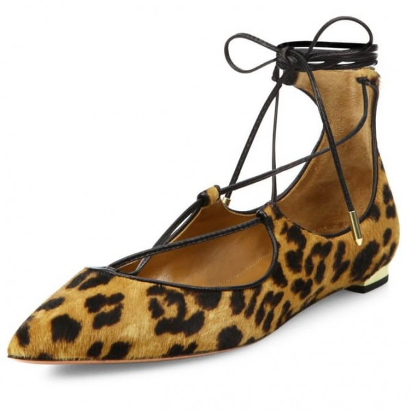 Women's Suede Strappy Shoes Ankle Strap Heels Leopard Print Flats image 1