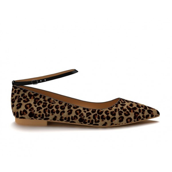 Women's Brown Suede Ankle Strap Leopard Print Flats image 2