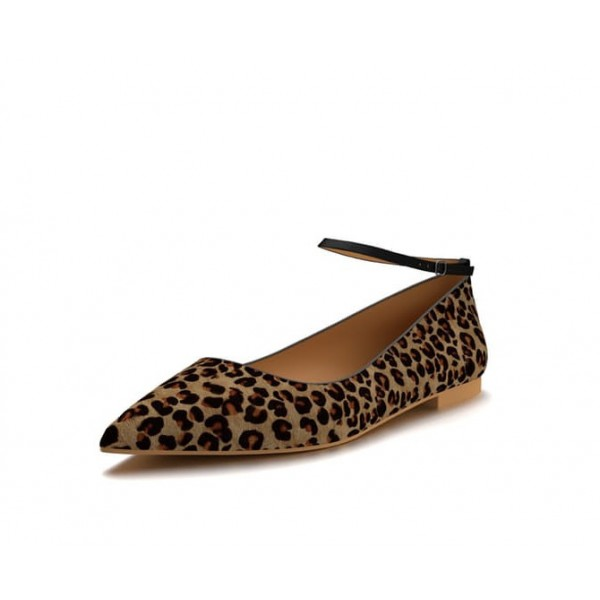 Women's Brown Suede Ankle Strap Leopard Print Flats image 1