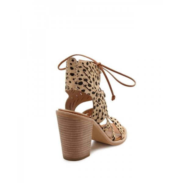 Leopard Print Heels Chunky Heel Lace-up Sandals image 3