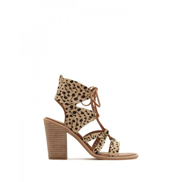 Leopard Print Heels Chunky Heel Lace-up Sandals image 2