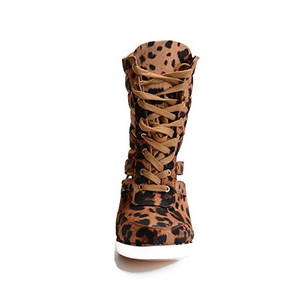 Women's Hollow-out Wedge Heel Leopard Print Boots image 4