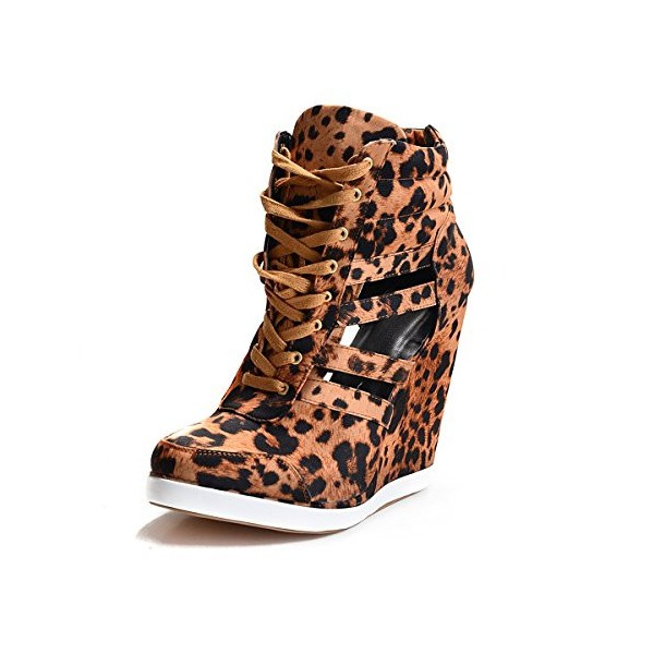 Women's Hollow-out Wedge Heel Leopard Print Boots image 3