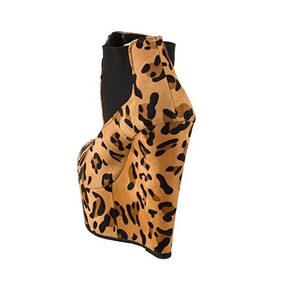 Khaki Leopard Print Boots Suede Wedge Booties with Platform image 2