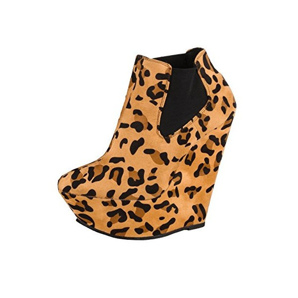Khaki Leopard Print Boots Suede Wedge Booties with Platform image 1