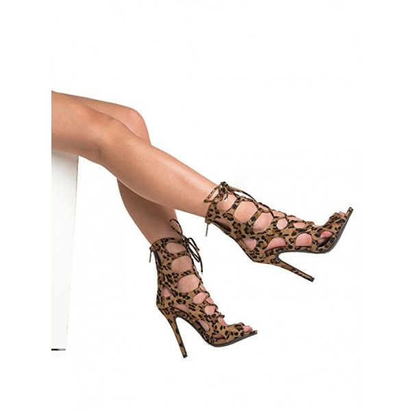 Women's Hollow-out Stiletto Heel Leopard Print Heels Lace Up Sandals image 3