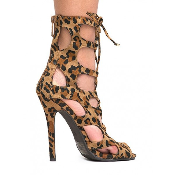 Women's Hollow-out Stiletto Heel Leopard Print Heels Lace Up Sandals image 2