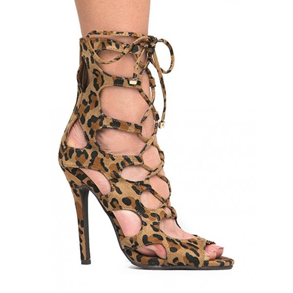 Women's Hollow-out Stiletto Heel Leopard Print Heels Lace Up Sandals image 4