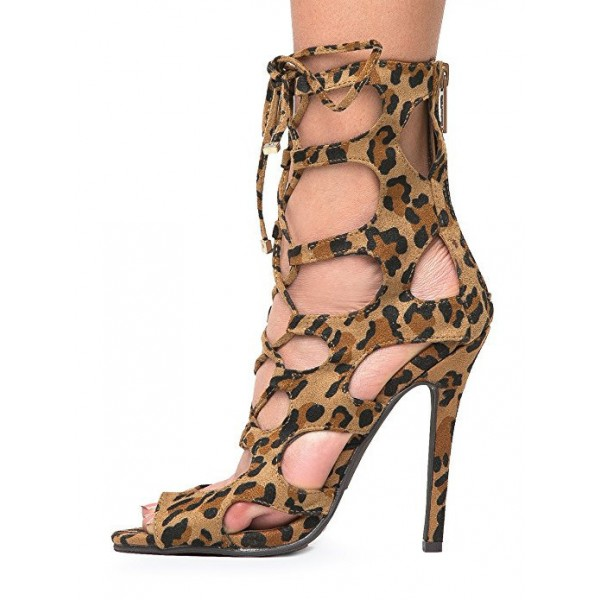 Women's Hollow-out Stiletto Heel Leopard Print Heels Lace Up Sandals image 1