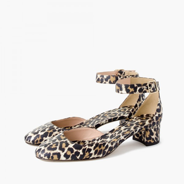 Leopard Print Heels Ankle Strap Chunky Heel Square Toe Sandals image 1