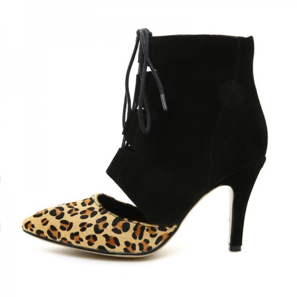 Women's Black Cut-out Stiletto Heel  Ankle Boots Leopard Print Boots image 4