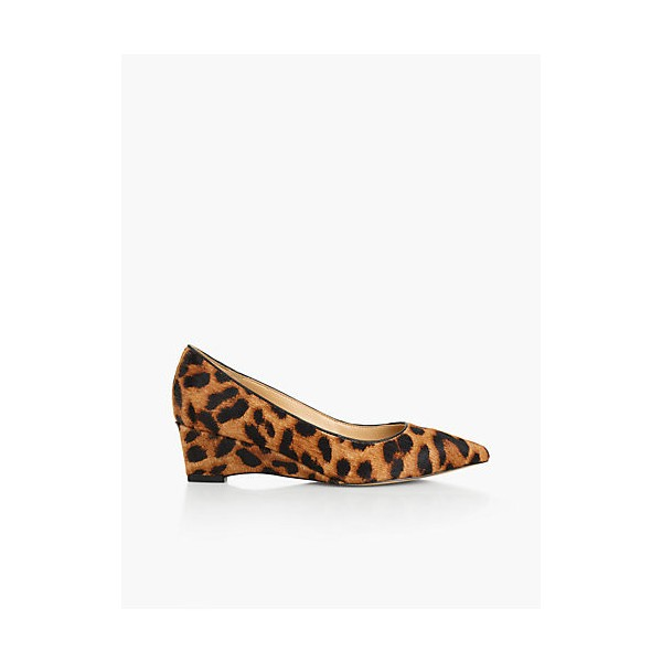Leopard Print Heels Suede Pointy Toe Wedge Heel Pumps image 3