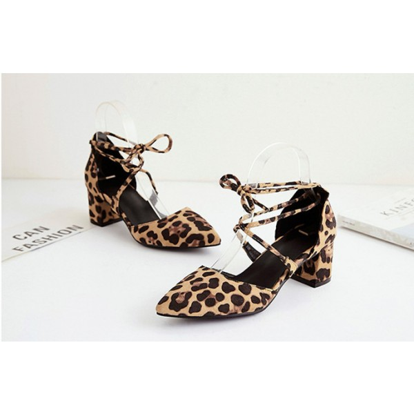 Women's Chunky Heel Sandals Leopard Print Heels Ankle Strap Sandals image 5