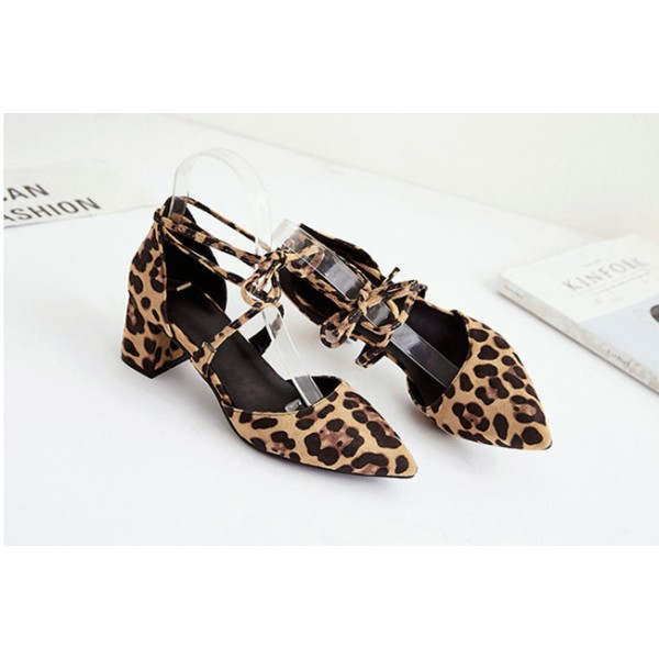 Women's Chunky Heel Sandals Leopard Print Heels Ankle Strap Sandals image 2
