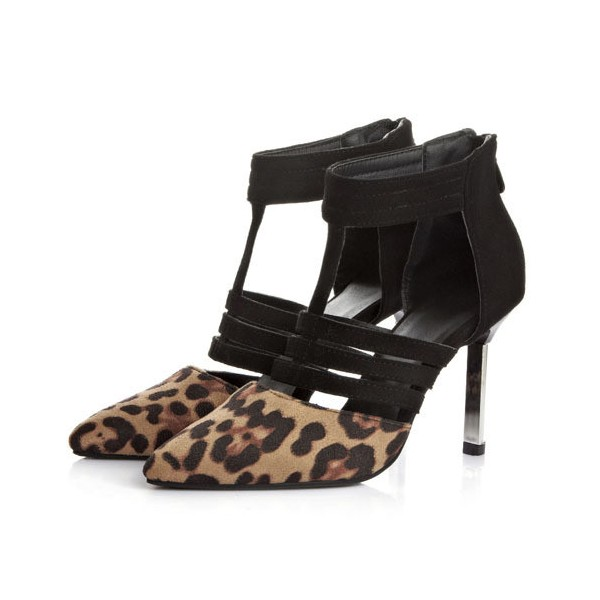 Leopard Print Heels Suede Closed Toe Sandals image 1