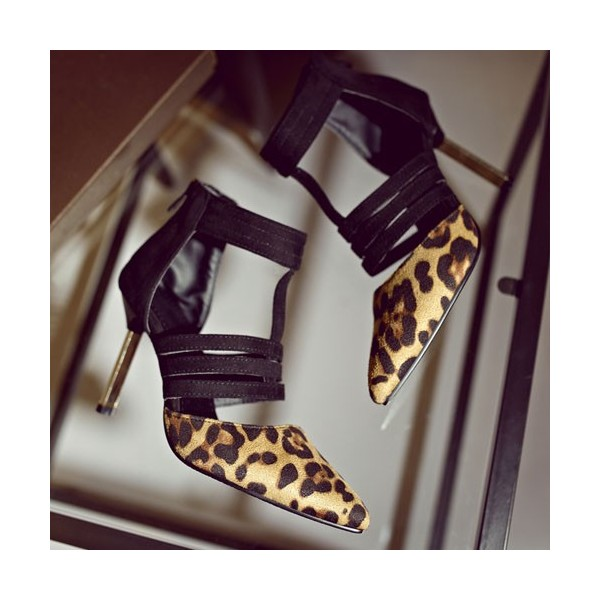 Leopard Print Heels Suede Closed Toe Sandals image 3
