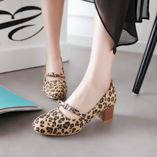 Leopard Print Shoes Chunky Heel Round Toe Pumps image 2