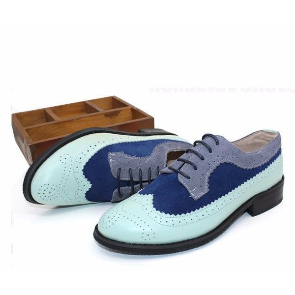 Cyan and Navy Stitching Color Vintage Women's Oxfords& Brogues image 1