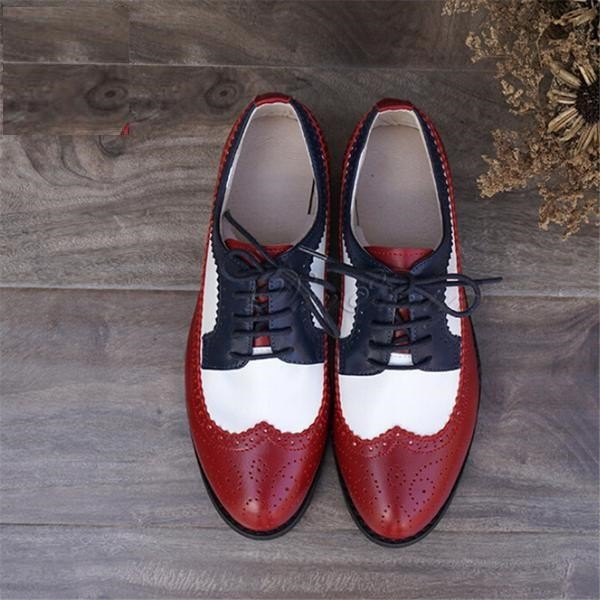 Red and White Women's Oxfords Lace-up Flats Brogues Vintage Shoes image 1