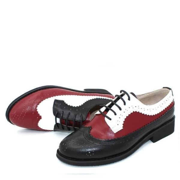 Multi-color Wingtip Women's Oxfords Lace-up Flat Vintage Brogue Shoes image 1