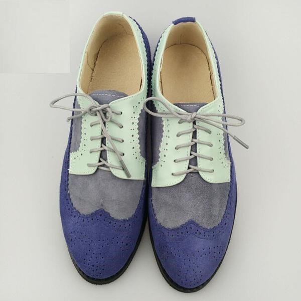 Multi-color Wingtip Women's Oxfords Lace up Flat Vintage Brogues  image 1