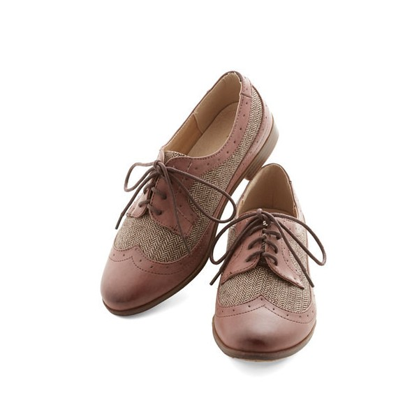 Old Pink Women's Oxfords Lace up Flat Brogues Vintage Shoes image 1