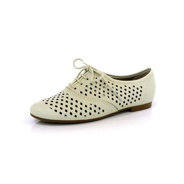 Beige Hollow-out Women's Oxfords Lace up Comfortable Flats  image 1