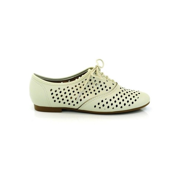 Beige Hollow-out Women's Oxfords Lace up Comfortable Flats  image 2