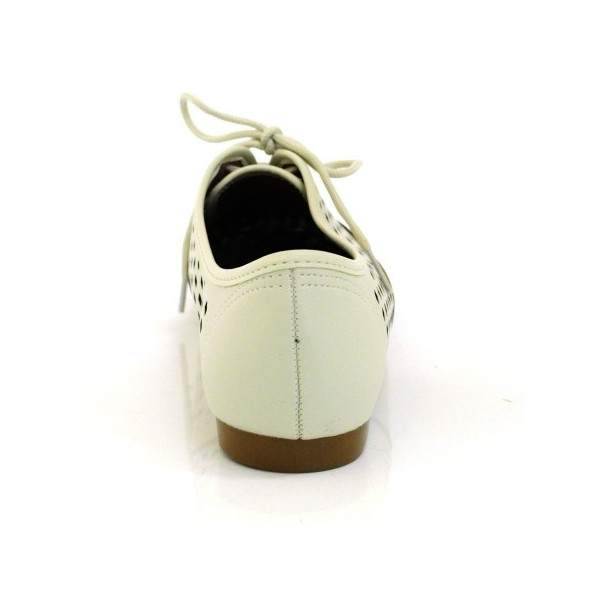 Beige Hollow-out Women's Oxfords Lace up Comfortable Flats  image 3