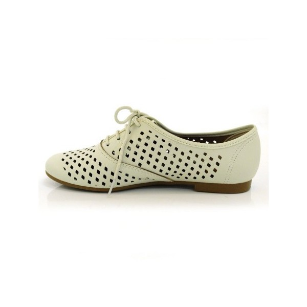 Beige Hollow-out Women's Oxfords Lace up Comfortable Flats  image 5