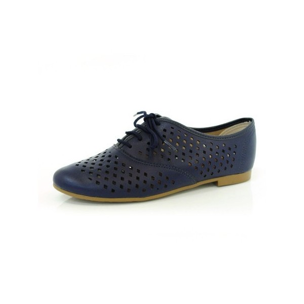 Navy Vegan Shoes Hollow out Round Toe Vintage Flats US Size 3-15 image 1