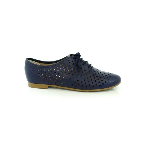 Navy Vegan Shoes Hollow out Round Toe Vintage Flats US Size 3-15 image 2