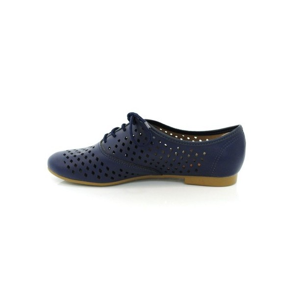 Navy Vegan Shoes Hollow out Round Toe Vintage Flats US Size 3-15 image 3