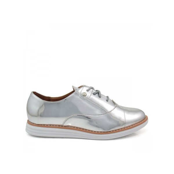 Women's Sliver Mirror Leather Vintage Lace Up Women's Oxfords image 4