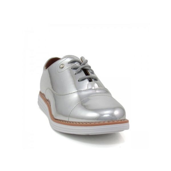 Women's Sliver Mirror Leather Vintage Lace Up Women's Oxfords image 3