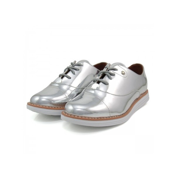 Women's Sliver Mirror Leather Vintage Lace Up Women's Oxfords image 1
