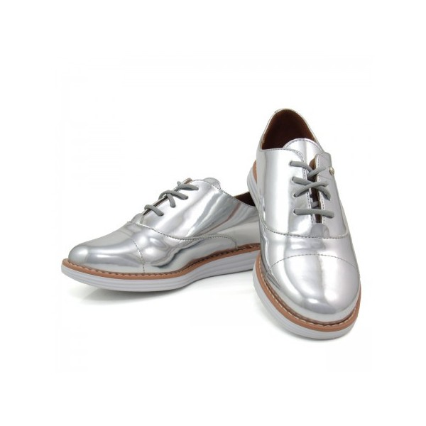 Women's Sliver Mirror Leather Vintage Lace Up Women's Oxfords image 2