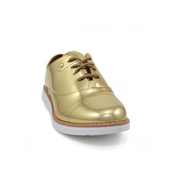 Women's Golden Mirror Leather Vintage Lace-up Women's Oxfords Brogues image 4