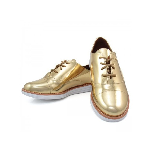 Women's Golden Mirror Leather Vintage Lace-up Women's Oxfords Brogues image 5