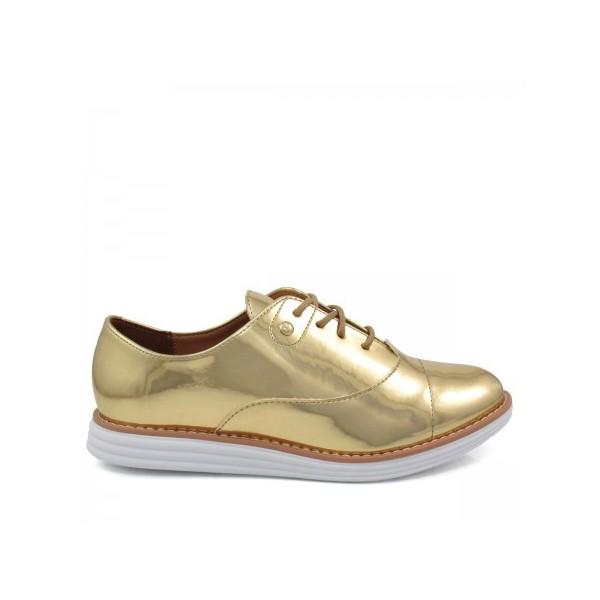 Women's Golden Mirror Leather Vintage Lace-up Women's Oxfords Brogues image 2