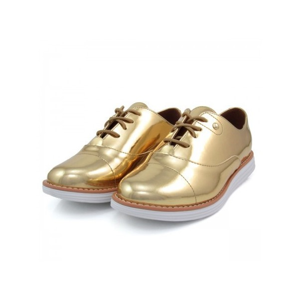 Women's Golden Mirror Leather Vintage Lace-up Women's Oxfords Brogues image 1