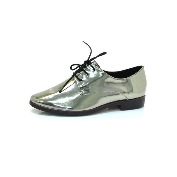 Bright Green Lace-up Women's Oxfords Patent Leather Vintage Shoes image 1