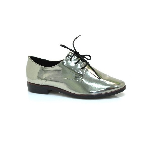 Bright Green Lace-up Women's Oxfords Patent Leather Vintage Shoes image 2
