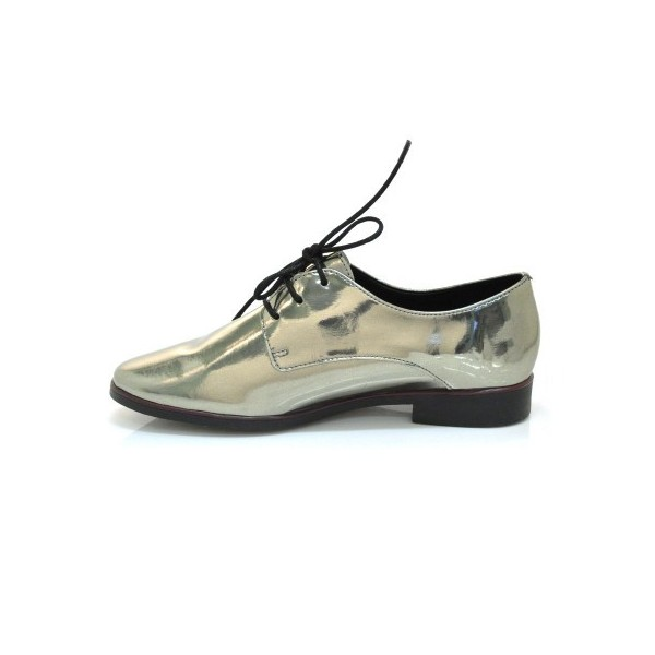 Green Glossy School Shoes Lace up Oxfords Comfortable Flats image 1